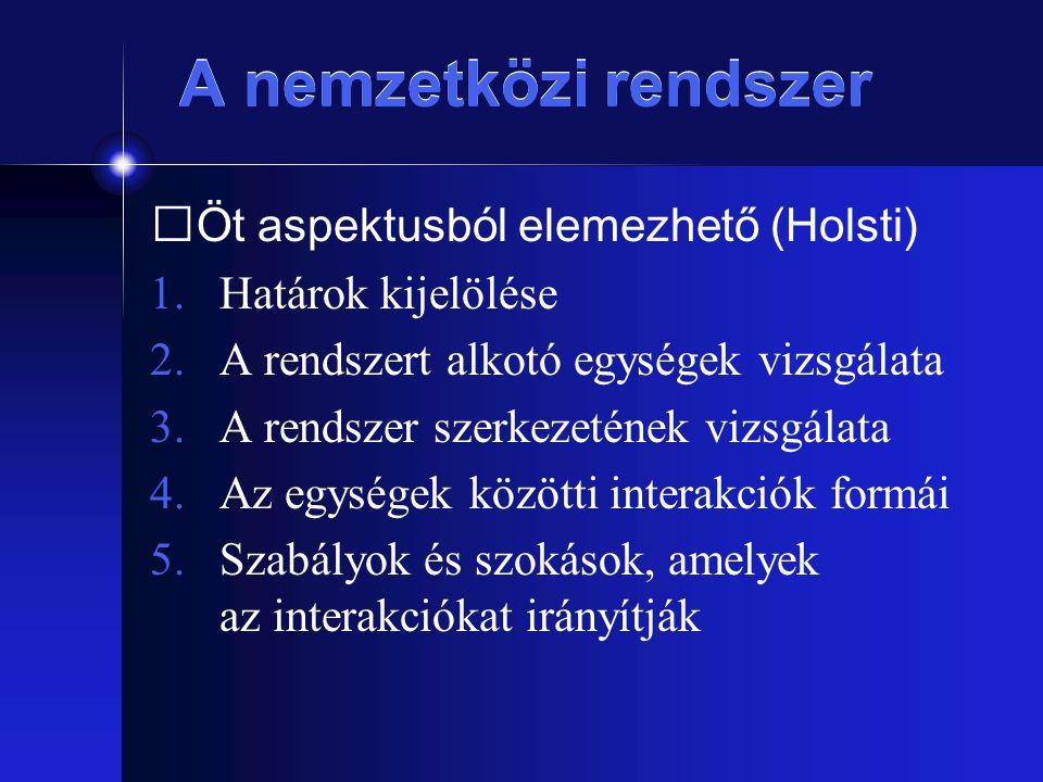 A nemzetközi rendszer Öt aspektusból elemezhető (Holsti)