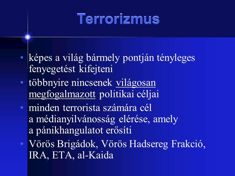 Terrorizmus képes a világ bármely pontján tényleges fenyegetést kifejteni. többnyire nincsenek világosan megfogalmazott politikai céljai.