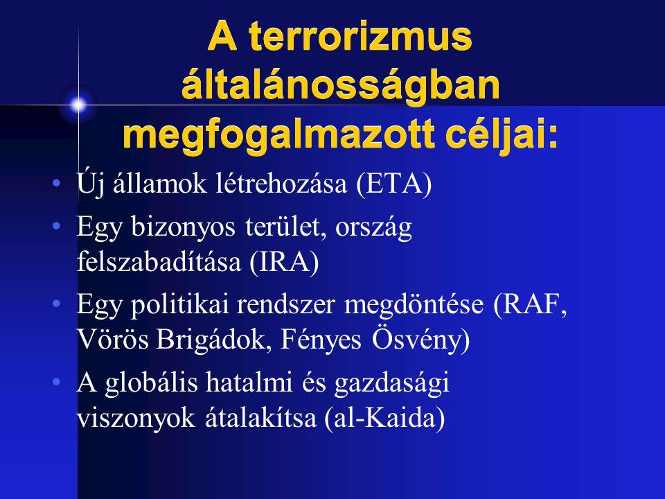 A terrorizmus általánosságban megfogalmazott céljai: