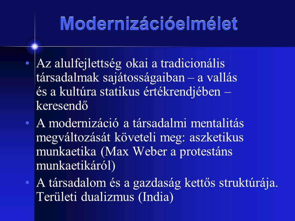 Modernizációelmélet Az alulfejlettség okai a tradicionális társadalmak sajátosságaiban – a vallás és a kultúra statikus értékrendjében – keresendő.