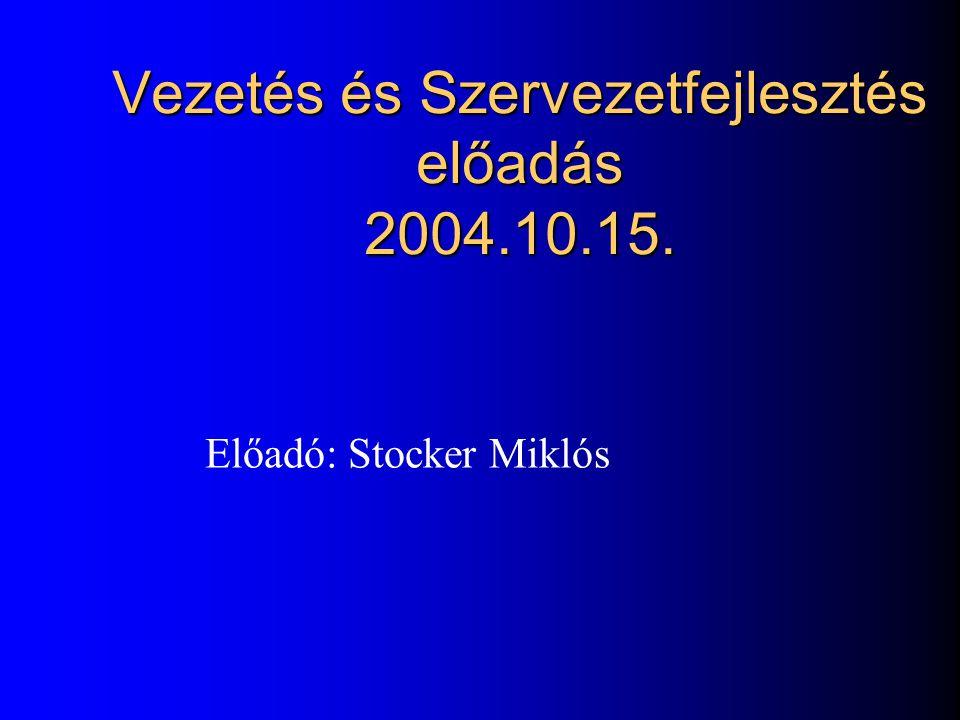 Vezetés és Szervezetfejlesztés előadás 2004.10.15.