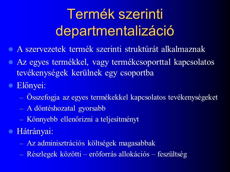 Termék szerinti departmentalizáció