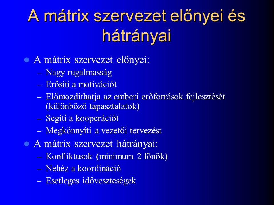 A mátrix szervezet előnyei és hátrányai