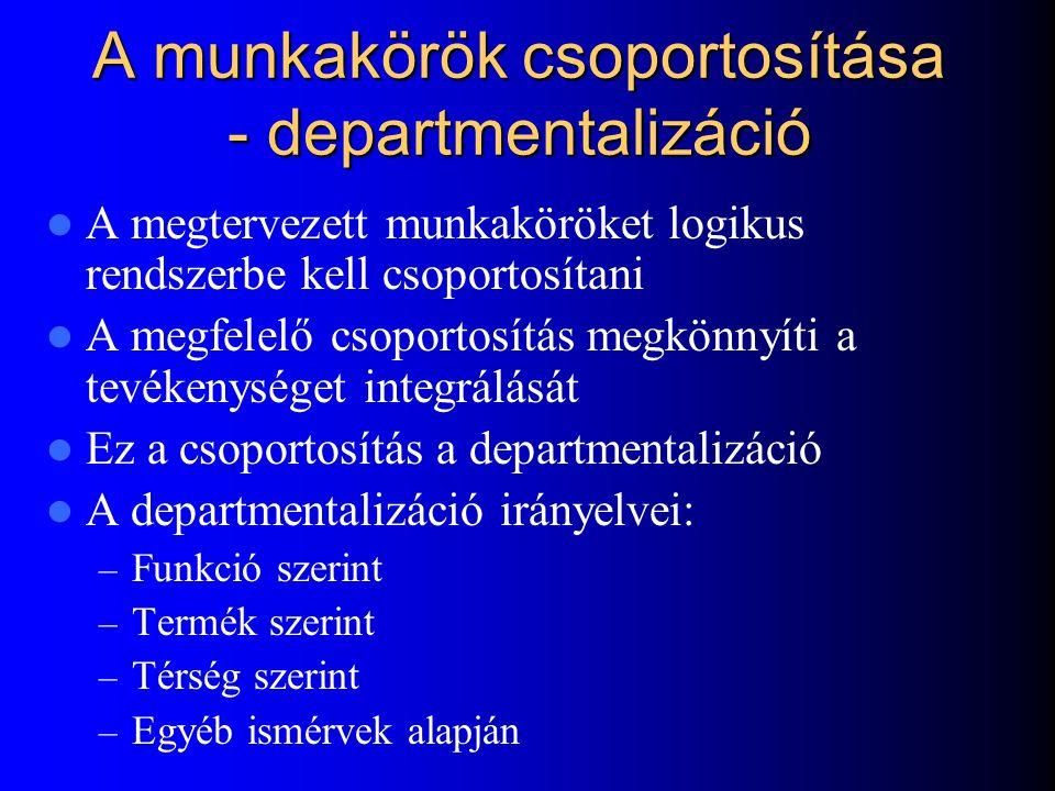 A munkakörök csoportosítása - departmentalizáció