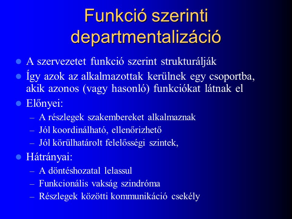 Funkció szerinti departmentalizáció