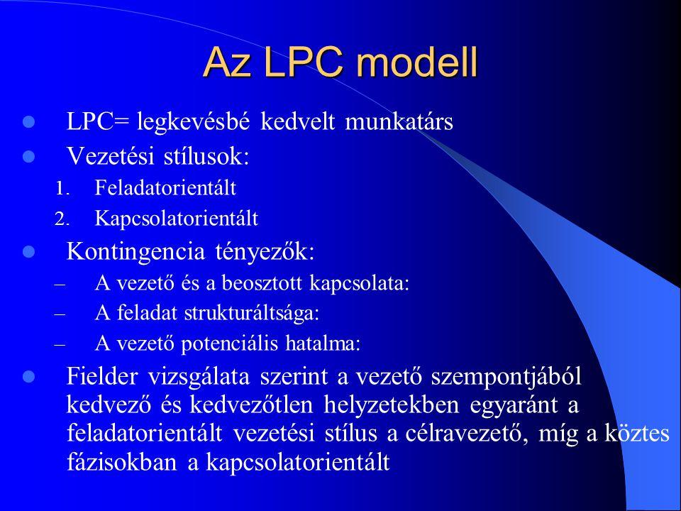 Az LPC modell LPC= legkevésbé kedvelt munkatárs Vezetési stílusok: