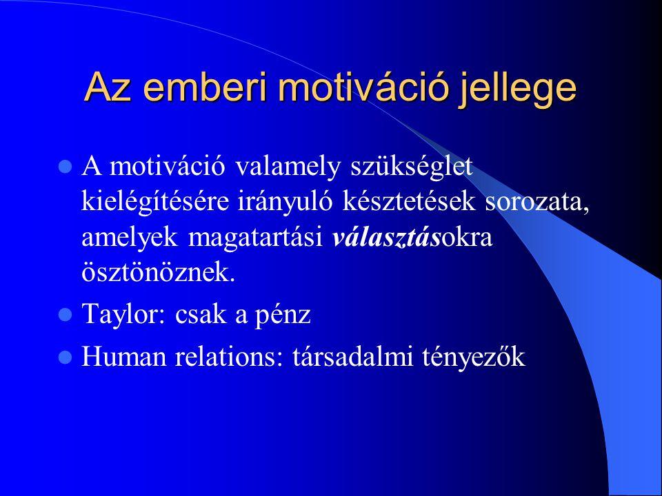 Az emberi motiváció jellege