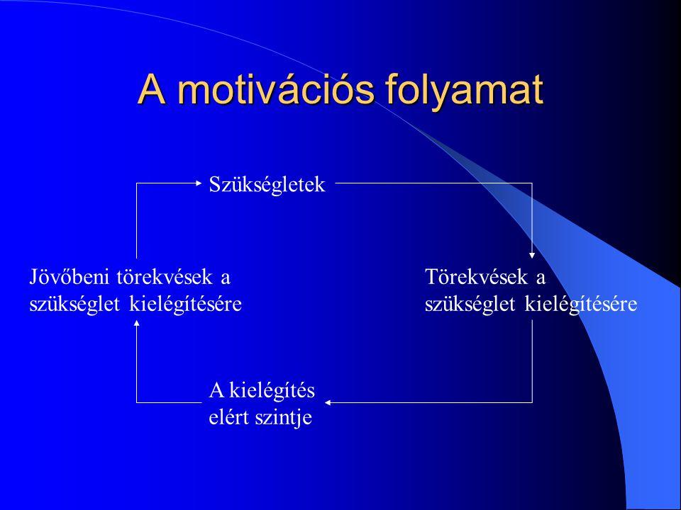 A motivációs folyamat Szükségletek Jövőbeni törekvések a