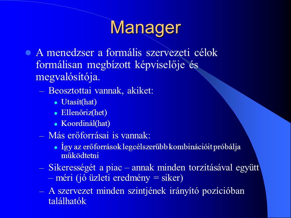 Manager A menedzser a formális szervezeti célok formálisan megbízott képviselője és megvalósítója. Beosztottai vannak, akiket: