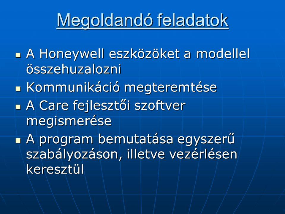 Megoldandó feladatok A Honeywell eszközöket a modellel összehuzalozni