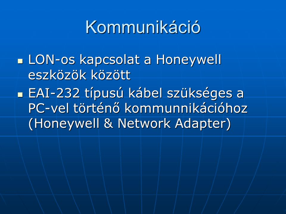 Kommunikáció LON-os kapcsolat a Honeywell eszközök között