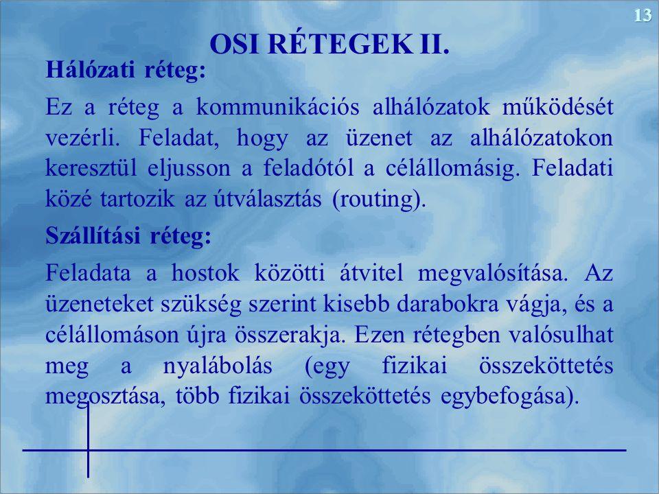 OSI RÉTEGEK II. Hálózati réteg: