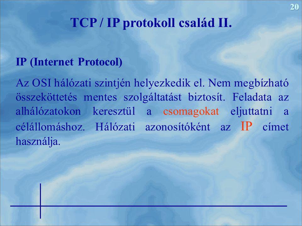 TCP / IP protokoll család II.