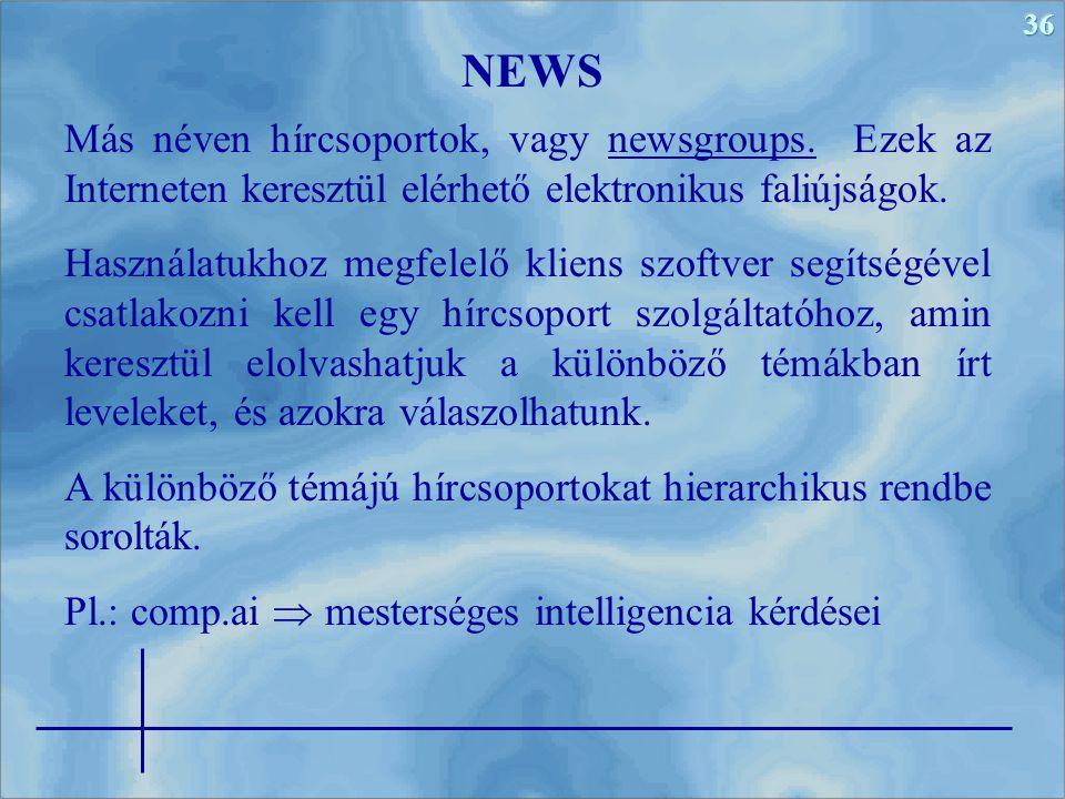 NEWS Más néven hírcsoportok, vagy newsgroups. Ezek az Interneten keresztül elérhető elektronikus faliújságok.