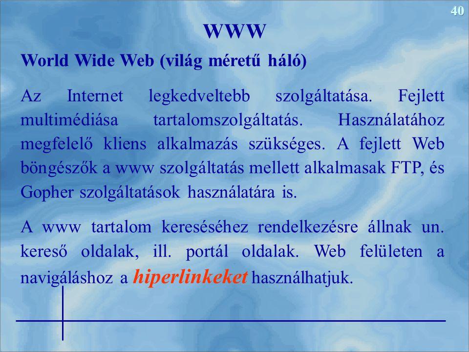 WWW World Wide Web (világ méretű háló)