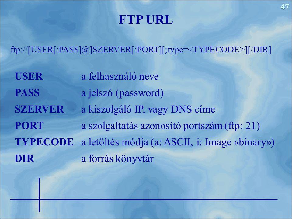 FTP URL USER a felhasználó neve PASS a jelszó (password)