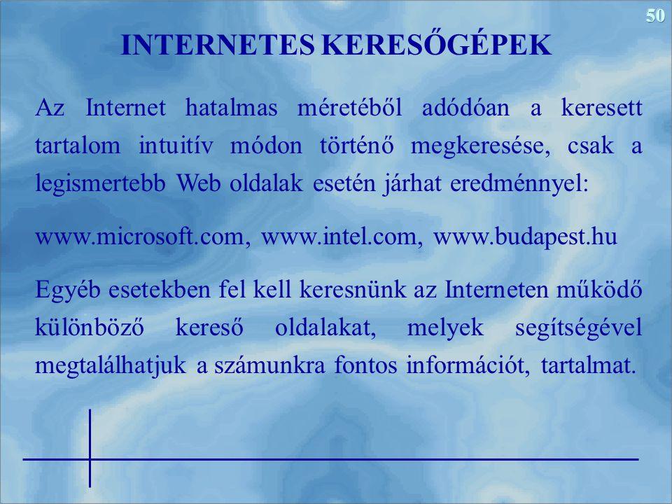 INTERNETES KERESŐGÉPEK