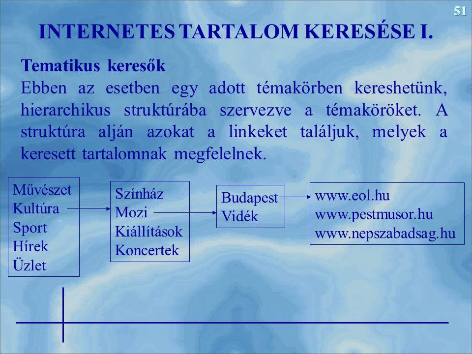 INTERNETES TARTALOM KERESÉSE I.