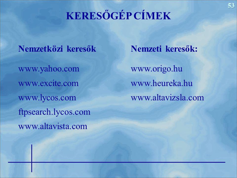 KERESŐGÉP CÍMEK Nemzetközi keresők www.yahoo.com www.excite.com