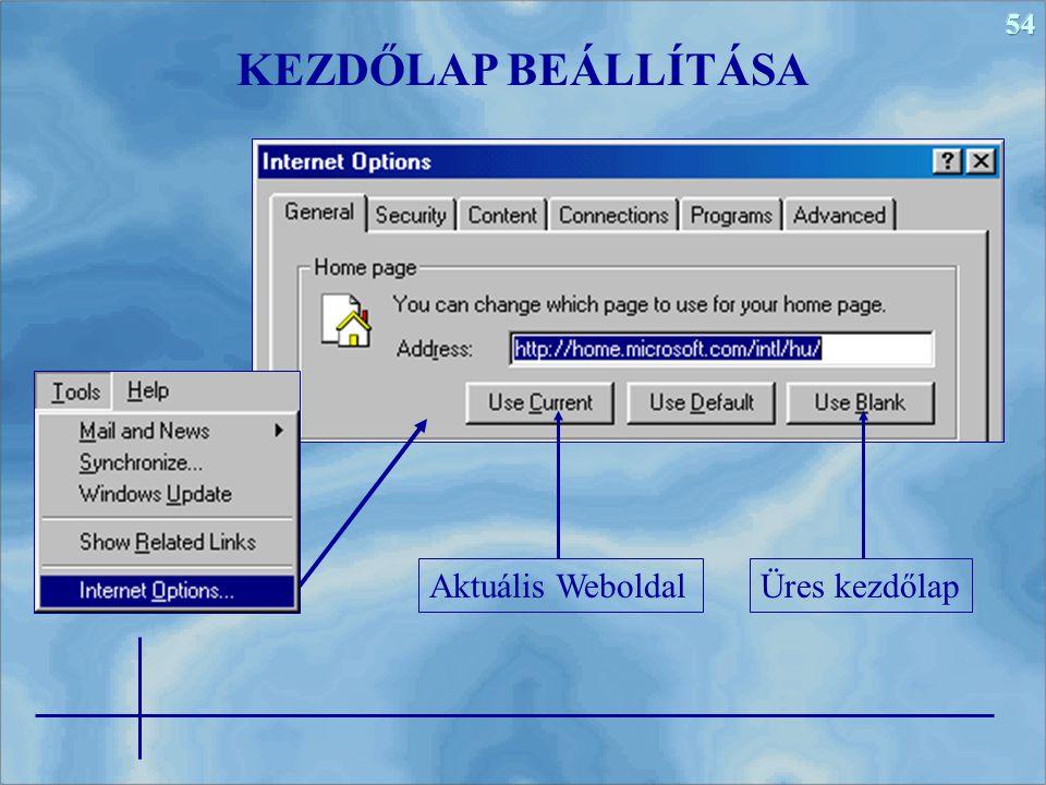 KEZDŐLAP BEÁLLÍTÁSA Aktuális Weboldal Üres kezdőlap