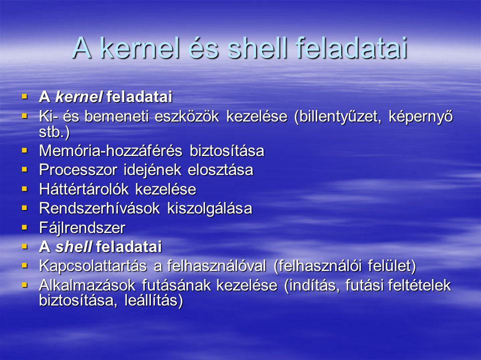 A kernel és shell feladatai