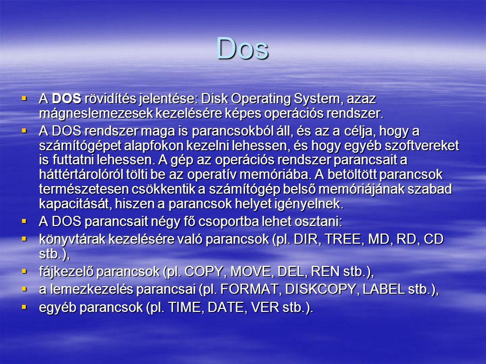 Dos A DOS rövidítés jelentése: Disk Operating System, azaz mágneslemezesek kezelésére képes operációs rendszer.