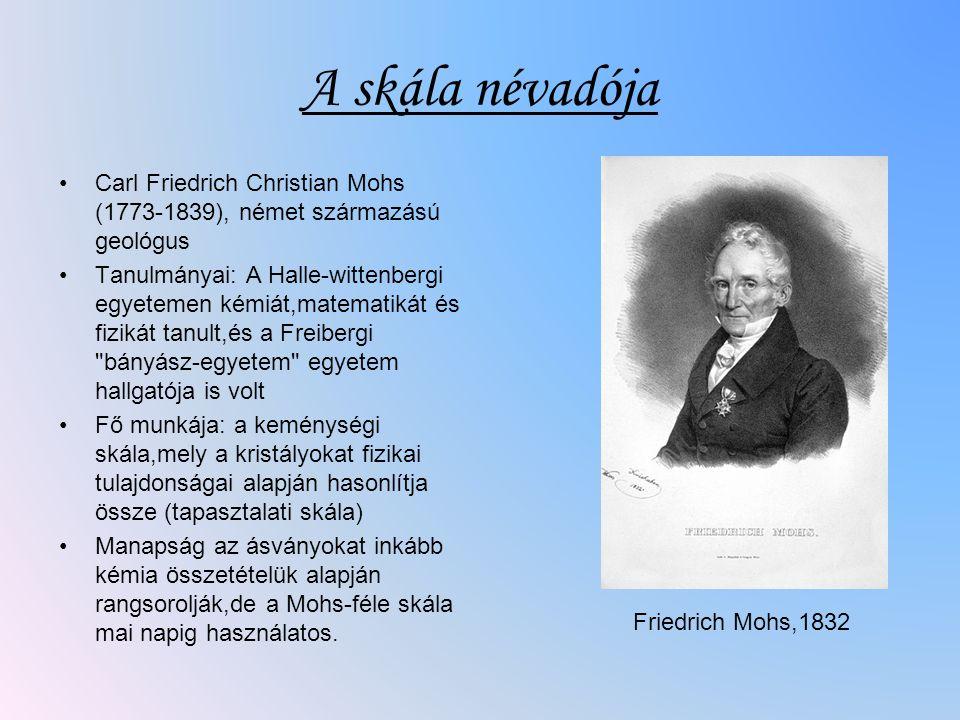 A skála névadója Carl Friedrich Christian Mohs (1773-1839), német származású geológus.