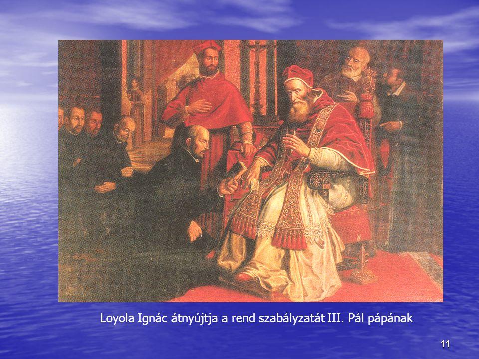 Loyola Ignác átnyújtja a rend szabályzatát III. Pál pápának