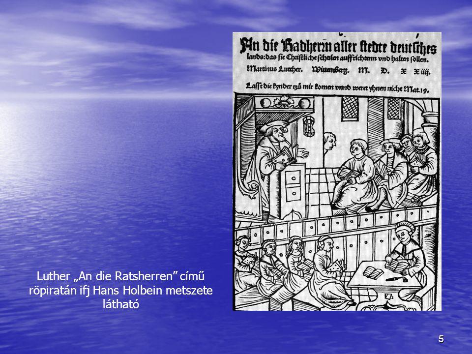 """Luther """"An die Ratsherren című röpiratán ifj Hans Holbein metszete látható"""