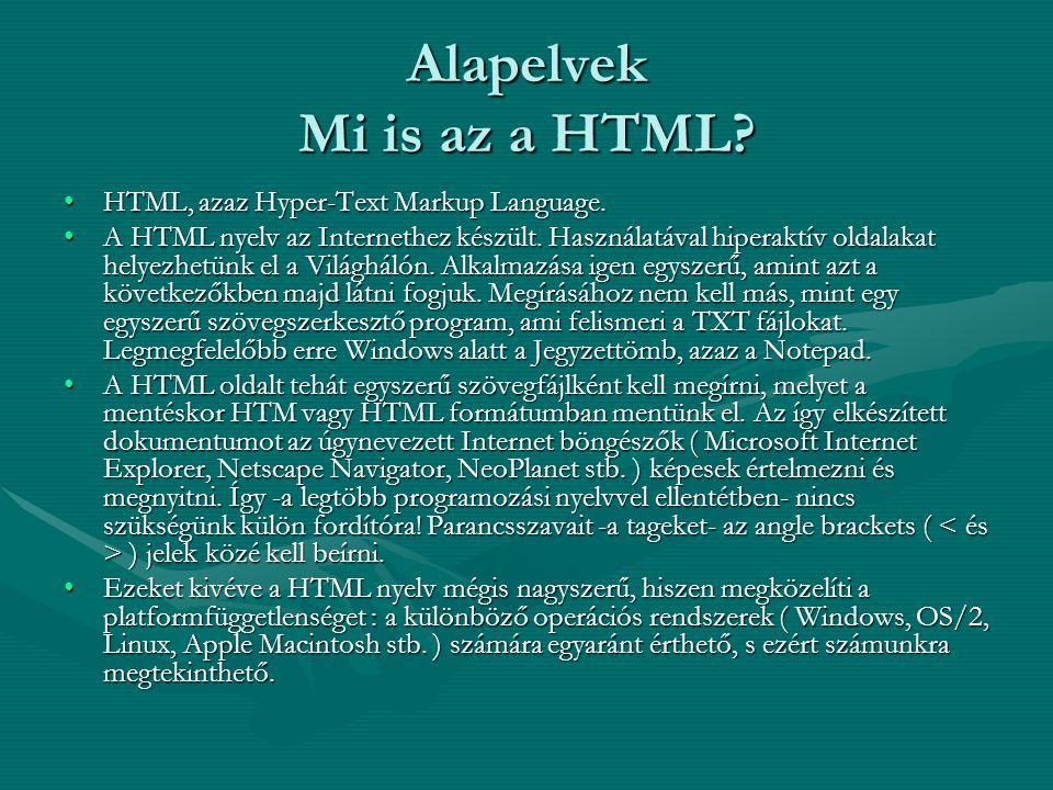Alapelvek Mi is az a HTML
