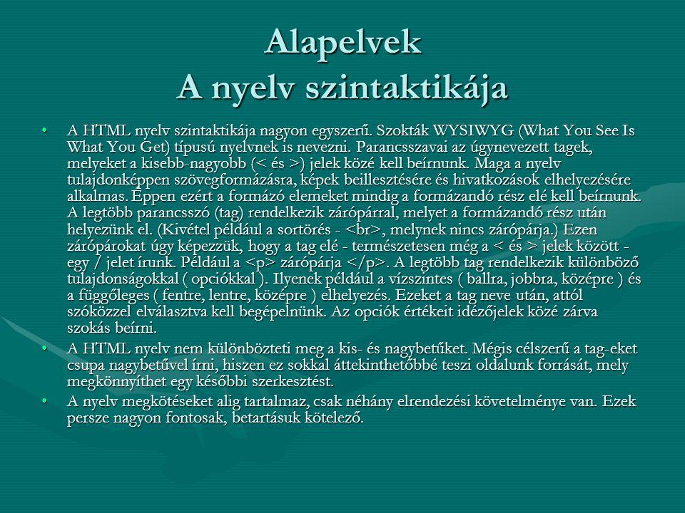 Alapelvek A nyelv szintaktikája