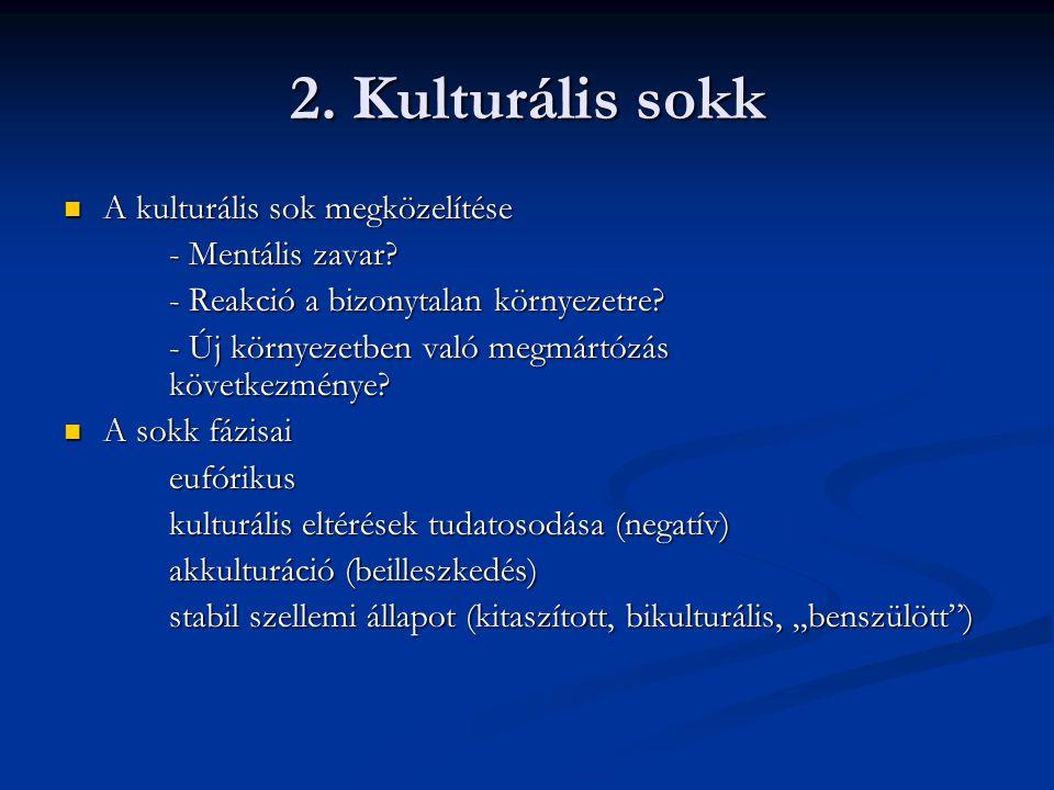 2. Kulturális sokk A kulturális sok megközelítése - Mentális zavar