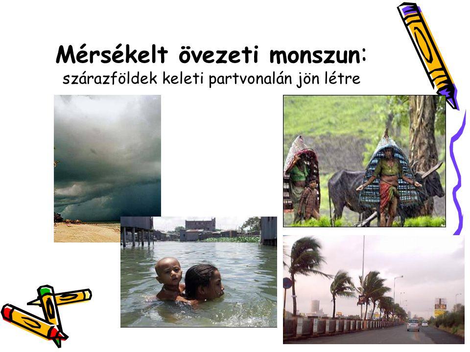 Mérsékelt övezeti monszun: szárazföldek keleti partvonalán jön létre