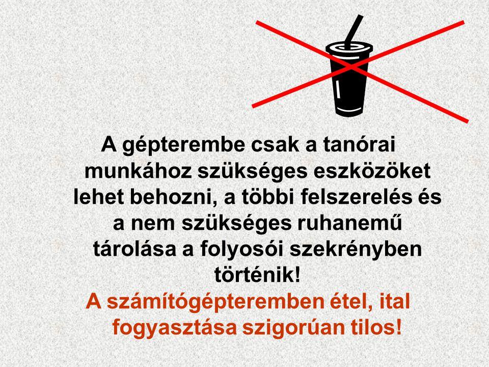 A számítógépteremben étel, ital fogyasztása szigorúan tilos!