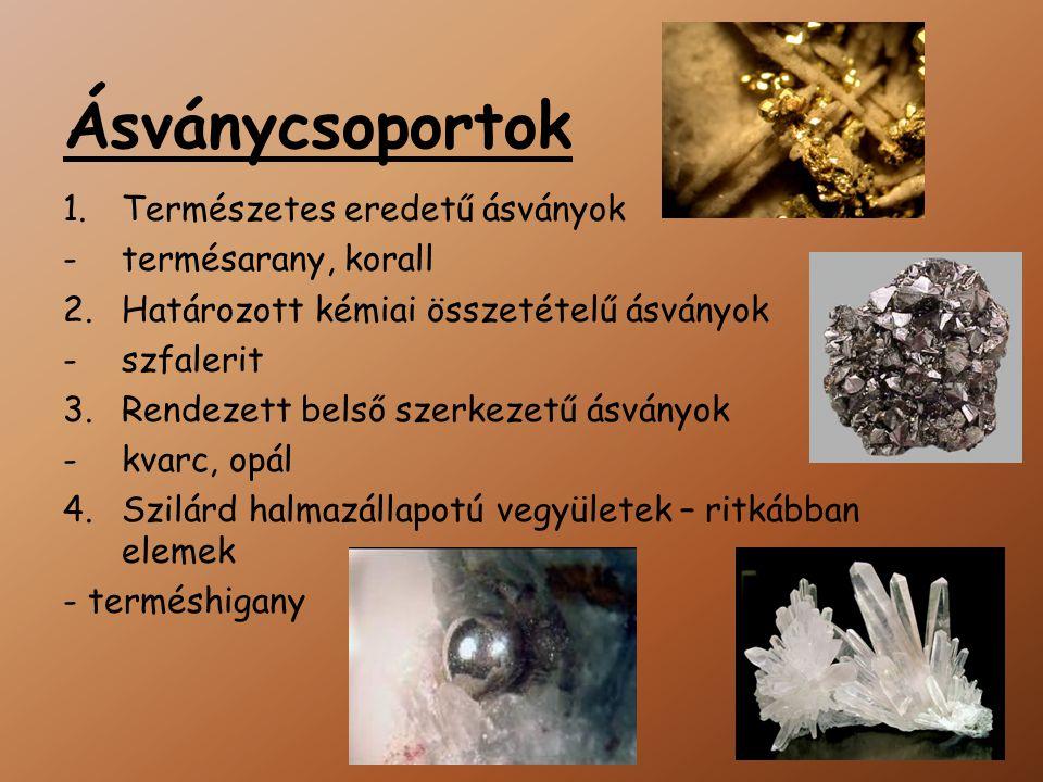 Ásványcsoportok Természetes eredetű ásványok termésarany, korall