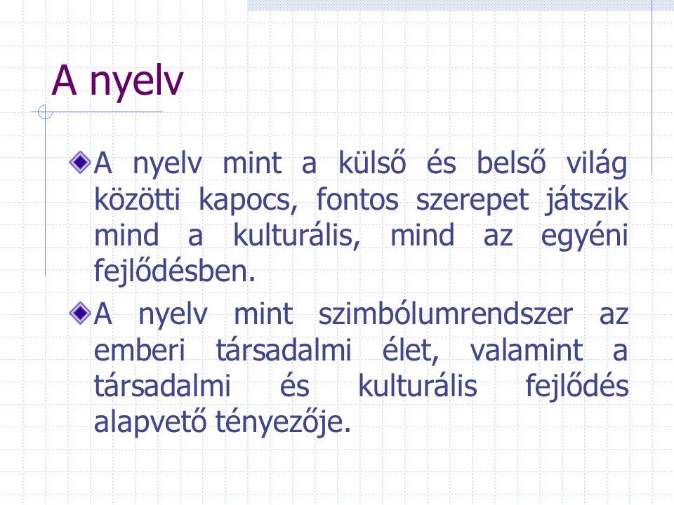 A nyelv A nyelv mint a külső és belső világ közötti kapocs, fontos szerepet játszik mind a kulturális, mind az egyéni fejlődésben.
