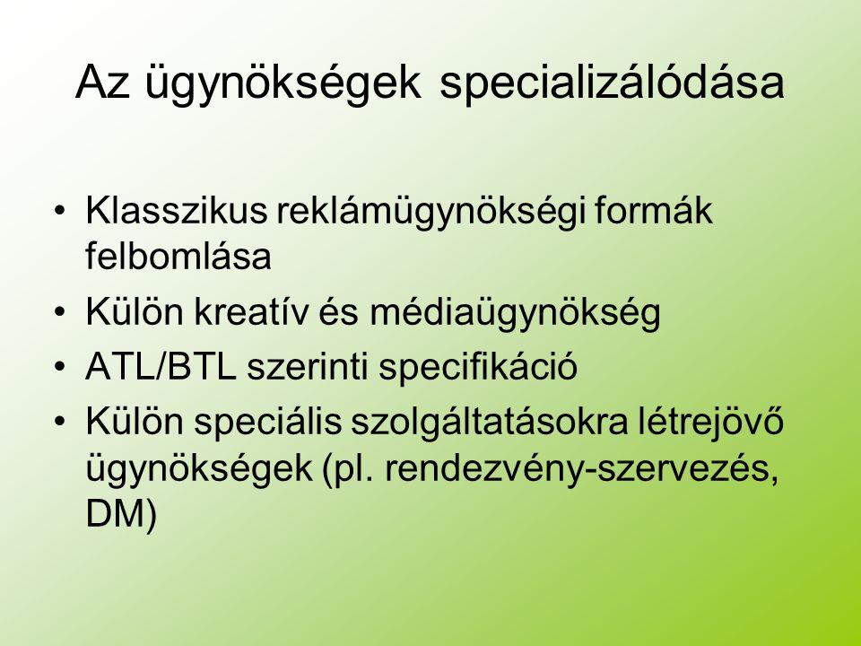 Az ügynökségek specializálódása