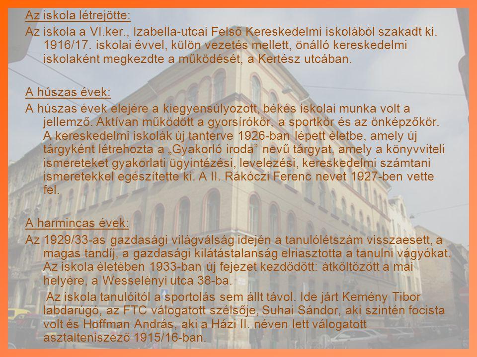 Az iskola létrejötte: Az iskola a VI. ker