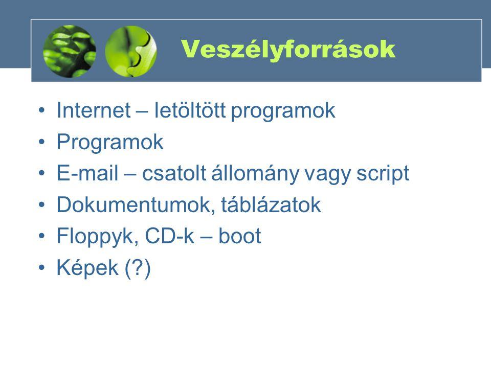 Veszélyforrások Internet – letöltött programok Programok