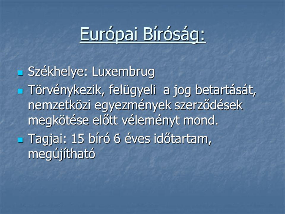 Európai Bíróság: Székhelye: Luxembrug