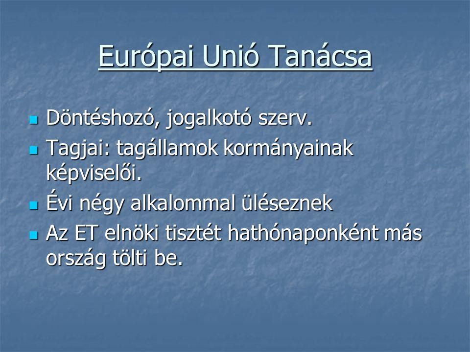 Európai Unió Tanácsa Döntéshozó, jogalkotó szerv.