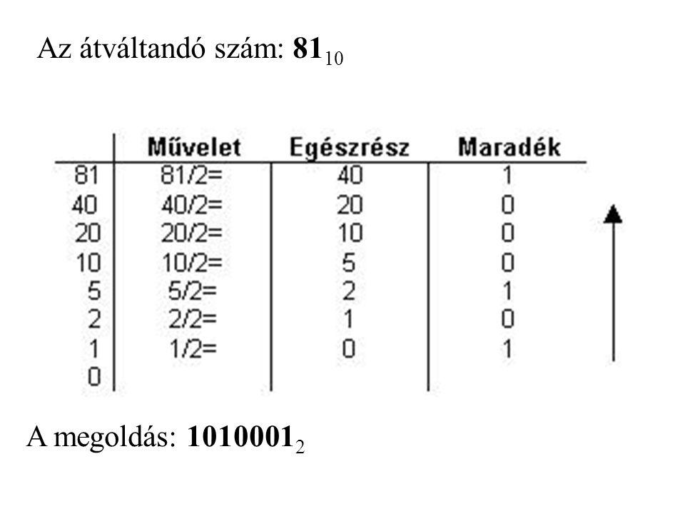 Az átváltandó szám: 8110 A megoldás: 10100012
