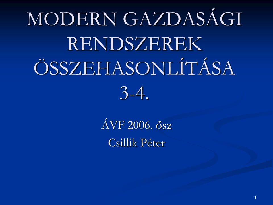 MODERN GAZDASÁGI RENDSZEREK ÖSSZEHASONLÍTÁSA 3-4.
