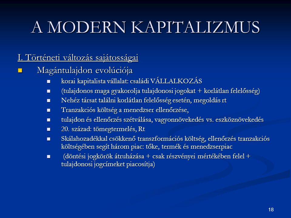 A MODERN KAPITALIZMUS I. Történeti változás sajátosságai