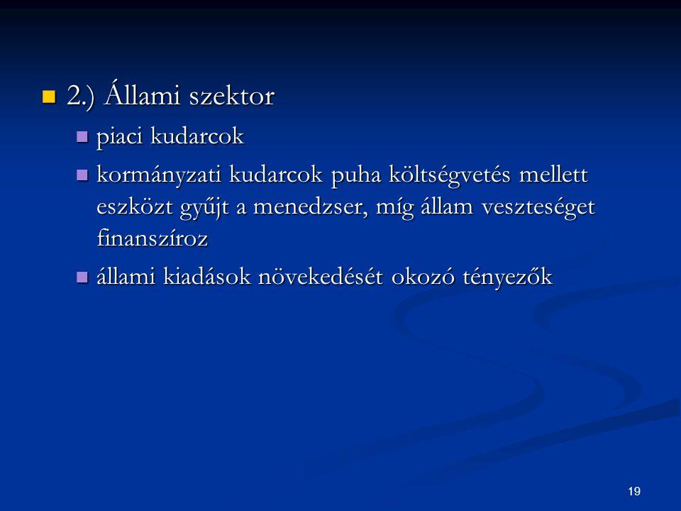 2.) Állami szektor piaci kudarcok