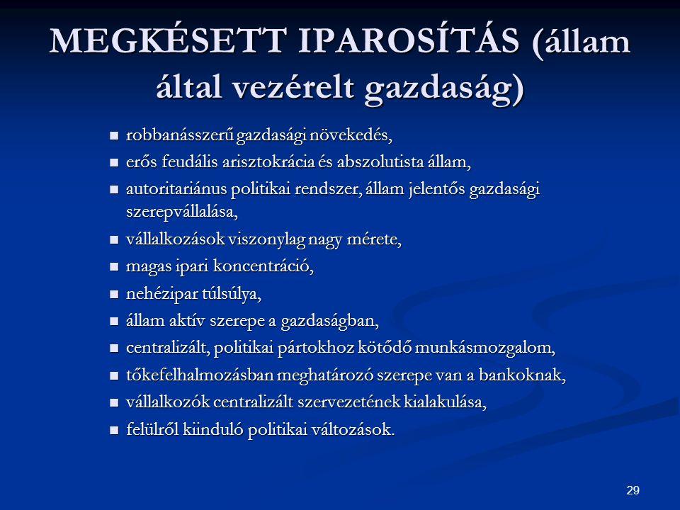 MEGKÉSETT IPAROSÍTÁS (állam által vezérelt gazdaság)