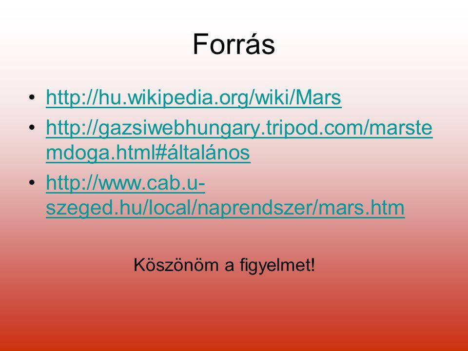 Forrás http://hu.wikipedia.org/wiki/Mars