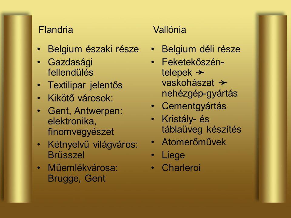 Flandria Vallónia. Belgium északi része. Gazdasági fellendülés. Textilipar jelentős. Kikötő városok: