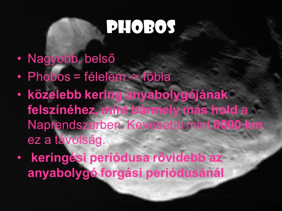 PHOBOS Nagyobb, belső Phobos = félelem -> fóbia