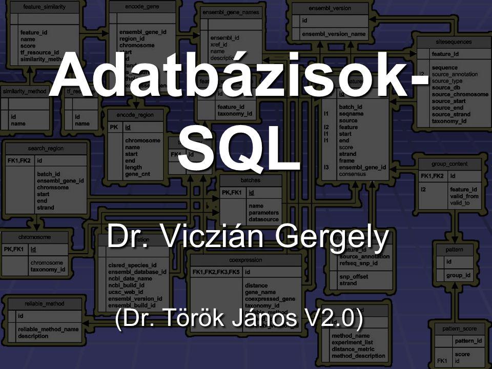 Adatbázisok-SQL Dr. Viczián Gergely (Dr. Török János V2.0)